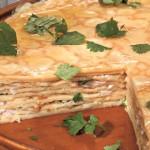 Пасхальный блинчатый пирог с копчёной рыбой
