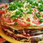 Закусочный тортик из кабачков
